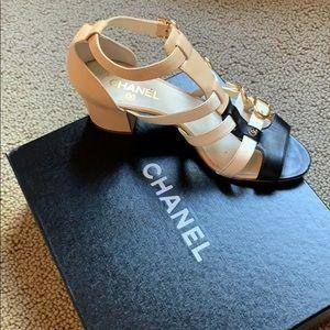 Chanel Strappy 2 inch heel sandals!
